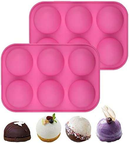 6 Holes Half Sphere Silicone Molds 2 Packs Medium Semi Sphere Silicone Mold For Baking Chocolate product image