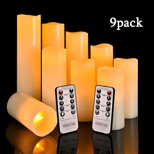 """Velas de LED sin llama H4\"""" 5\"""" 6\"""" 7\"""" 8\"""" 9\"""" Set de9 pilar de cera real no plástico Con 10 teclas de control remoto temporizador300 horas (9, marfil) [Clase de eficiencia energética A]"""