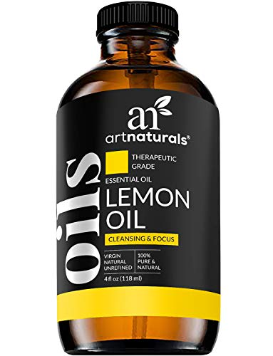 ArtNaturals Lemon Essential Oil 4oz - 100% Pure Lemons Oils - Therapeutic Grade Best for Skin, Hair, Natural Healing Solution, Aromatherapy & Diffuser - 120ml Large Glass Bottle w/Dropper Kit