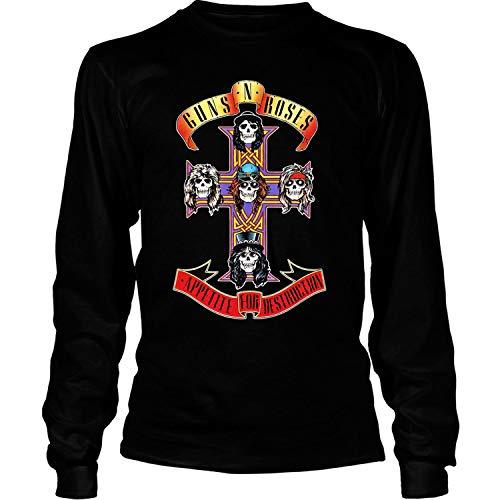 LEXIGSTORE Guns N Roses Appetite for Destruction T-Shirt - Long Sleeve Tees (L, Black)
