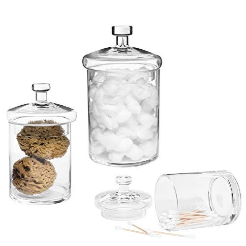 MyGift Decorative Clear Glass Apothecary Jars with Lids, Set of 3