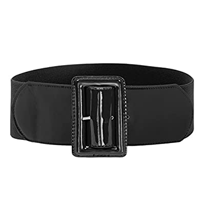 Women's Wide Patent Leather Fashion Belt ,Black,X-Large