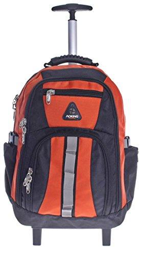 Aoking, zaino trolley da scuola in tela, nero/arancione (Multicolore) - AK510