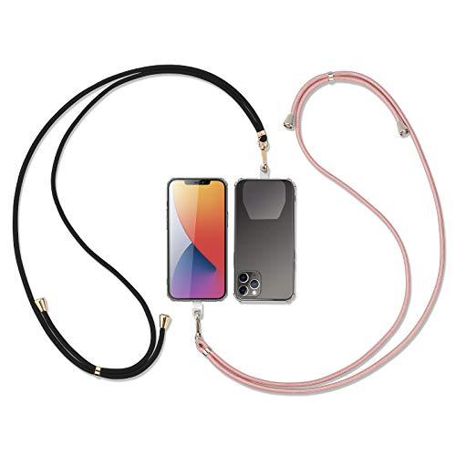 Universale Handykette 2 Stück, kompatibel mit meisten Smartphones Necklace- Kette zum umhängen in Rosa-Gold/Schwarz