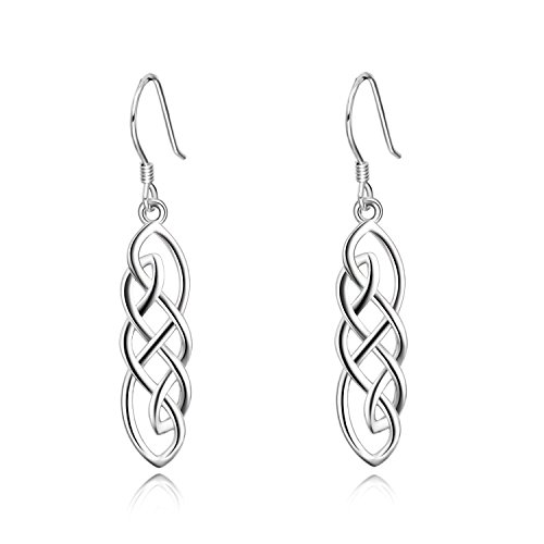 Celtic Jewelry Sterling Silver Religious Good Luck Irish Celtics Knot Dangle Dangling Drop Earrings Gifts for Women Girls