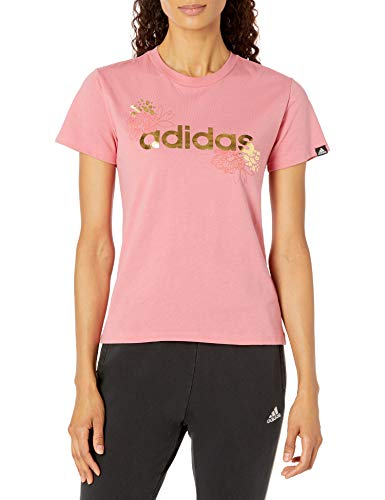 adidas womens Foil Linear Graphic Tee Hazy Rose X-Small