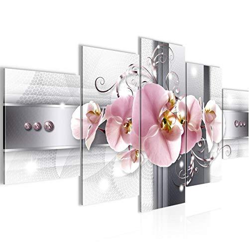 Runa Art - Quadri Orchidea Fiori 200 x 100 cm 5 Pezzi XXL Decorazione Murale Design Rosa Grigio 008351a