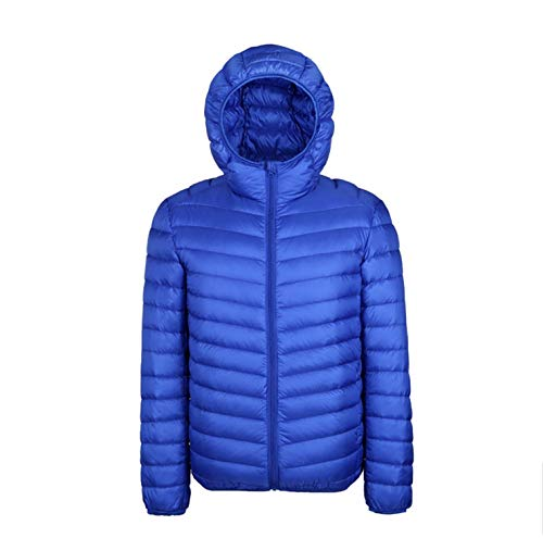 Price comparison product image Autumn and Winter Men's Down Jacket Zipper Pocket Solid Color White Duck Down Jacket, Royal Blue, S