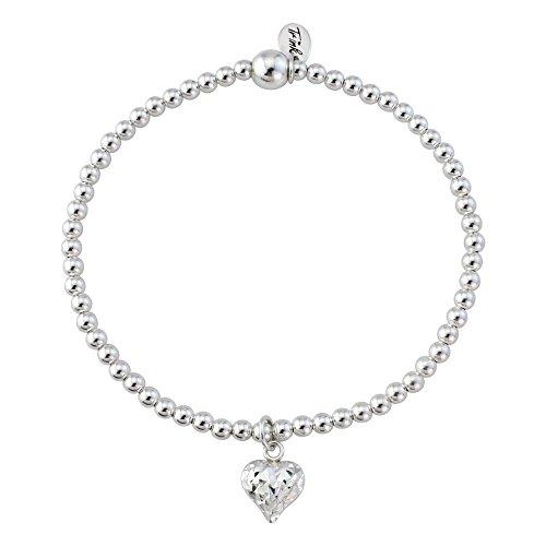 Trink Brand Love Heart Sterling Silver Faceted Beaded Bracelet