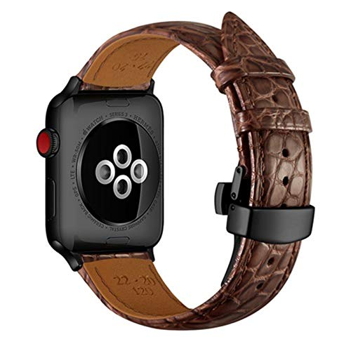 CGGA Strap for Apple watch band 5 4 44mm 40mm France alligator Genuine leather correa for iwatch band 3 2 42mm 38mm TOP Process bracelet Watch strap (Band Color : Brown black, Band Width : 38mm)