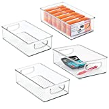 mDesign Stackable Plastic Home Office Storage Organizer Container with Handles for Cabinet...