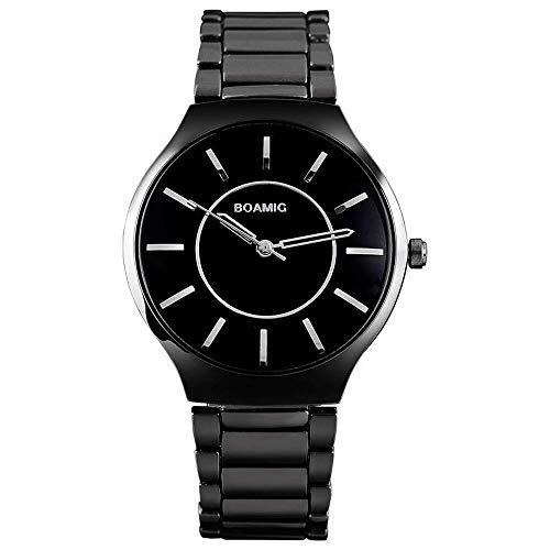 Reloj de negocios para hombre,reloj de regalo impermeable con cinturón acero simple,reloj de cuarzo ultrafino para ocio al aire libre,reloj de pulsera esfera redonda minimalista clásico impermeable