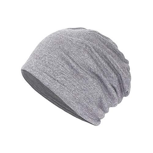 Yuccer Beanie Mütze, Baumwolle Unisex Hat 2-in-1 Skull Cap Halstuch Chemo Hut, Leicht und Weich (Dünn, dunkelgrau)