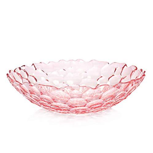 KDJJH Etagere mit Obstschalen, Arbeitsplatte ObstköRbe Kristallglas Obst-Etagere Dekorativer Obstkorb Praktischer FrüChtekorb für Obst und Gemüse,Pink_8x28.5cm/3x11inch