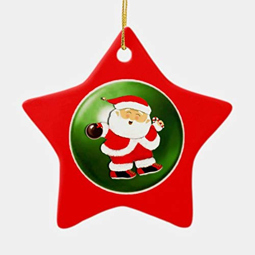 daoyiqi Christmas Tree Ornament, Personalized Bowling Ceramic Ornament, 3 Inch Christmas Ornament Pendant for Christmas Tree Decorations Gifts