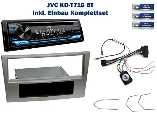 NIQ Autoradio Einbauset geeignet für Opel Antara | Astra | Corsa | Zafira inkl. JVC KD-T716BT & Lenkrad Fernbedienung Adapter in Satin Stone