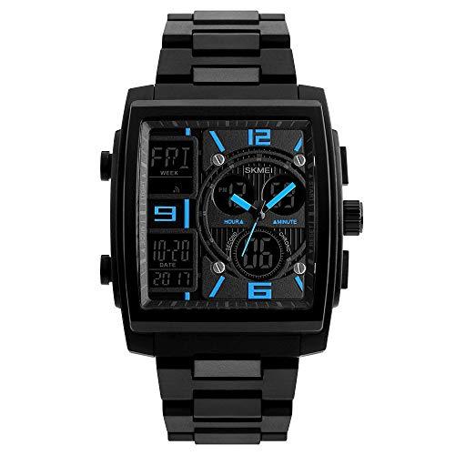 WZHSPORTSWATCH Sport Horloge Multi-functie Mannen 50 Meter Waterdichte Licht Wijzerplaat Digitale Alarm Klok Stopwatch Outdoor Tijd Zwemmen Student Blauw