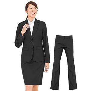 (アッドルージュ) スーツ レディース 3点セット タイトスカート パンツ ジャケット 洗濯可 デオドラント 消臭抗菌 【j5002】 2つボタン 11号 ブラック