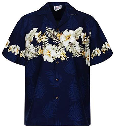 P.L.A. Pacific Legend Original Hawaiihemd, Kurzarm, Brustdruck, Blau, L