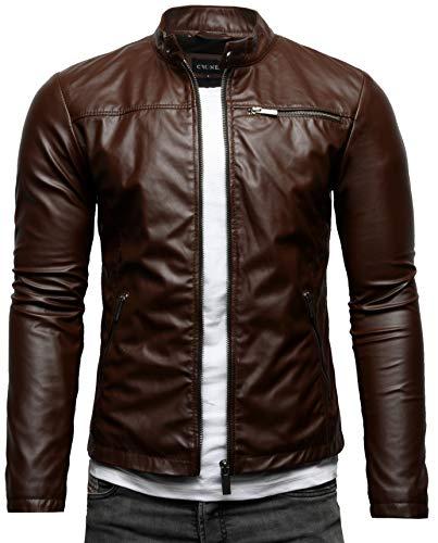 Crone Vego Cleane - Chaqueta básica de piel ecológica para hombre, ligera, de corte ajustado Marrón chocolate (cuero ecológico). L