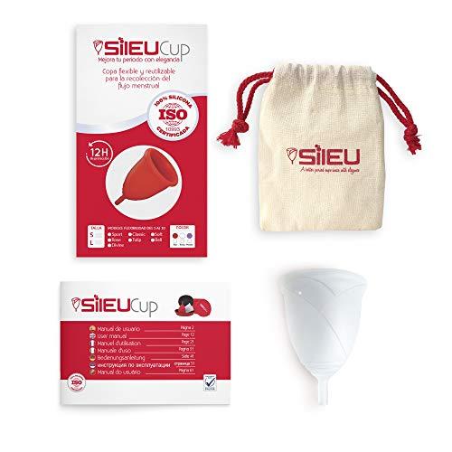 Copa Menstrual Sileu Cup Rose - Modelo de iniciación sencillo de colocar - Ayuda a prevenir infecciones urinarias y la cistitis - Talla S, Transparente, Flexibilidad Standard