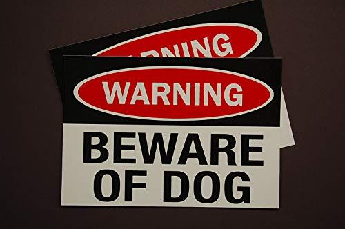 Warning - Beware of Dog Stickers Vinyl Decals (Set of 2!) 5' X 3.5' Indoor Outdoor Waterproof Service Dog Working K9 Car Window Home Security (X2PS12)