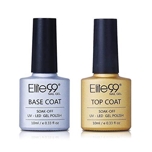 Elite99 UV LED Base Coat Top Coat, UV Nagellack Gel Nagellack Gellack Unterlack & Überlack Set Nägel Maniküre Kit 2pcs 10ml