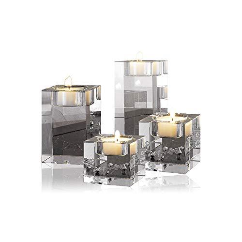cosy-ycy Hohe Qualität K9 Kristall Kerzenhalter Kerzenständer Teelichthalter Kerzen steht Best Decor für Hochzeit Geburtstag Weihnachten Bar Party, Hight of 4+6+8+10cm