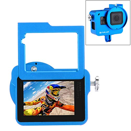 PULUZ Housing Shell Case CNC Aluminum Alloy Protective Cage with Insurance Frame & 52mm UV Lens for Hero 7 Black New Hero (2018) Hero 6 5 (Blue)