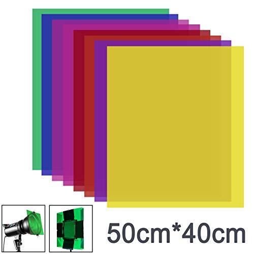 Neewer 8 Stück Gel Farbfilter mit 8 Farben -16x20 Zoll transparenter Farbfilm Kunststoffplatten,Korrektur-Gel-Lichtfilter für Fotostudio-Blitzlicht,LED-Videolicht,DJ-Licht usw.