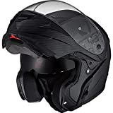 Nexo Klapphelm Motorradhelm Helm Motorrad Mopedhelm Carbon Travel II, Carbonhelm mit Sonnenblende, 1.500 g, großes, klares, kratzfestes Visier, effektive Belüftung, Klickverschluss, Schwarz, XS