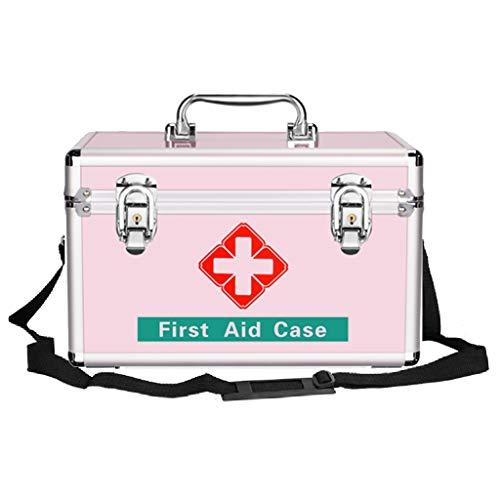AIYE medicijnbox apothekerskist met veiligheidsslot - EHBO-koffer met uitneembaar dienblad en draagbaar handvat, opbergdoos aluminiumlegering - zilver/roze (3 maten)