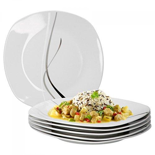 Van Well 6er Set Speiseteller Silver Night einzeln, Menü-Teller flach, 250 x 250 mm, großer Servierteller, Hotelporzellan, abstraktes Dekor, Gastro-Geschirr