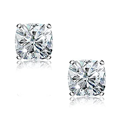 """""""STUNNING FLAME"""" 18K White Gold Plated 925 Sterling Silver Cubic Zirconia Simulated Diamond Stud Earrings for Women, Men and Girls"""