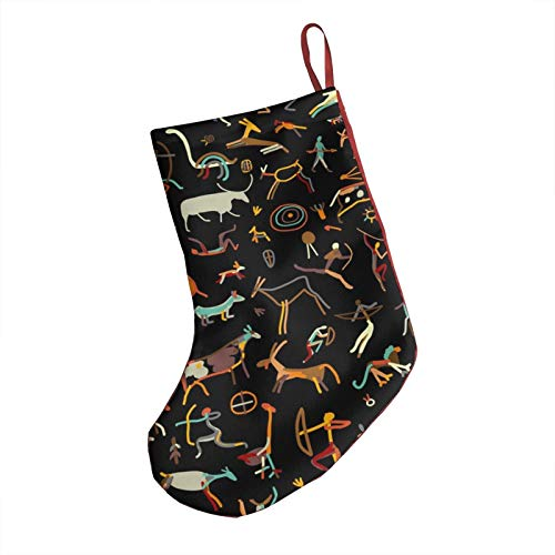"""Soutibaowen22 Rock Paintings with Ethnic People Christmas Stockings,Print Christmas Stockings,Kids Christmas Stockings for Mantel,Cute Holiday Stockings for Presents and Treats,18"""""""