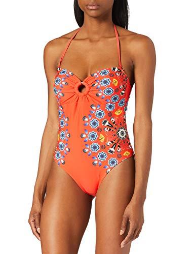 Desigual Biki_Waikiki Tuta da Nuoto One Piece, Colore: Rosso, L Donna