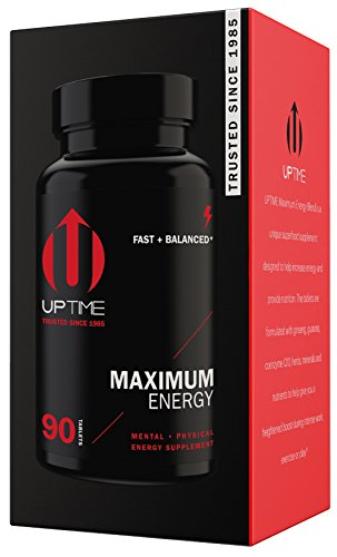 UPTIME-Maximum Energy Blend Tablets-Premium Caffeine Supplement - 90ct. Bottle - Zero Calories
