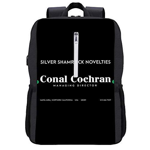 Halloween Silver Kleeblatt Neuheiten Visitenkartenrucksack Tagesrucksack Büchertasche Laptop Schultasche mit USB-Ladeanschluss