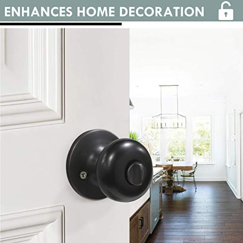 4 Pack Keyed Entry Door Lock for Exterior and Front Door, Keyed Alike Biscuit Style Door Konbs with Lock and Key, Entrance Door Lockset Oil Rubbed Bronze Finish