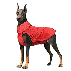IREENUO Dog Raincoat, 100% Waterproof Dog Warm Coat for Fall Winter, Reflective Dog Jacket with Harness Hole for Medium Large Dogs