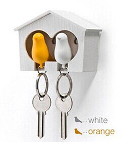 Fendii Paar Mussen Vogel Sleutelhangers Sleutelhanger Ring Fluitje Vogelhuis Sleutelhouder (Groen en Wit) Geel en Wit
