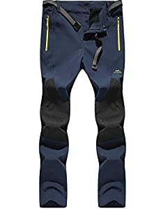 DAFENP Pantalones Trekking Mujer Impermeable Pantalones de Escalada Senderismo Alpinismo Invierno Polar Forrado Aire Libre KZ16608W-Darkblue1-XS