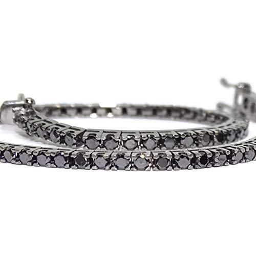 Never Say Never Bracciale con diamanti neri da 2,39 kt e oro bianco 18 k rodiato in nero. Lunghezza 18 cm, per uomo o donna, tipo Riviere. 7,10 g in oro da 18 K.