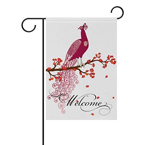 coosun Violet paon sur le Rouge Fleur Arbre Branche Polyester Drapeau de jardin en plein air Drapeau Home Party Décor Jardin, double face, 28 x 40
