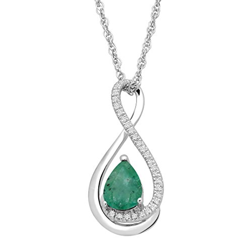 Natural Emerald Pendant Necklace with Diamonds in Sterling Silver, 18'