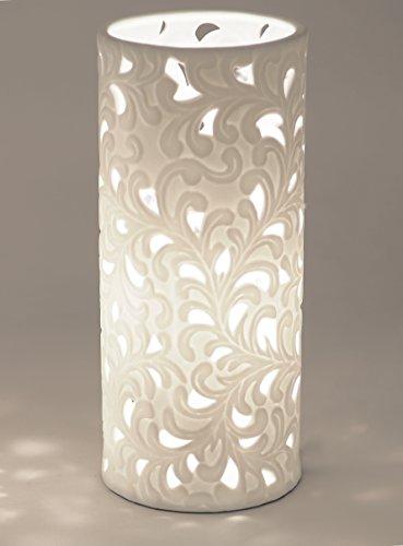 Formano Porzellan-Lampe Rund Harmonie Romantik Tischleuchte Nachttischlampe Nachttischleuchte Stimmungslampe Weiss 12x28cm