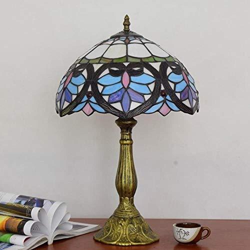Lámpara de mesa de cristal Tiffany de 30 cm, lámpara de mesa E27, lámpara de mesita de noche retro
