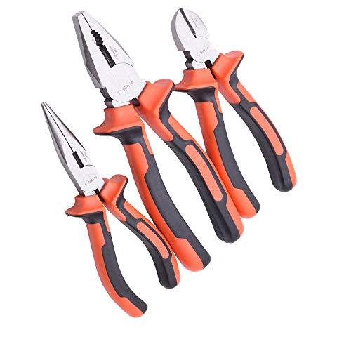"""Edward Tools Harden 3 Piece Pliers Set - Professional Grade Pliers includes 6"""" Long Nose Plier, 6"""" Diagonal Cutting Plier, 8"""" Combination Plier - High Carbon Steel - Ergo Grip Handles"""