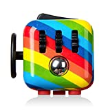 Paochocky Rainbow Fidget Toy Cube Toy with Click Ball, Anti-anxiety Anti-Stress Fidget Toys for Children,...