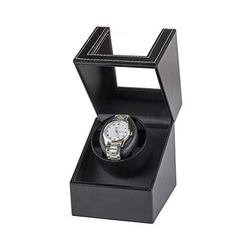 SLM-max Enrollador de Reloj automático,Caja enrolladora de Reloj única automática Negra, Ajuste de 2 Modos de rotación, enrollador de Reloj conectable, Almohada de c